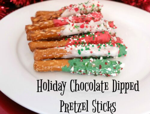 Holiday Chocolate Dipped Pretzel Sticks