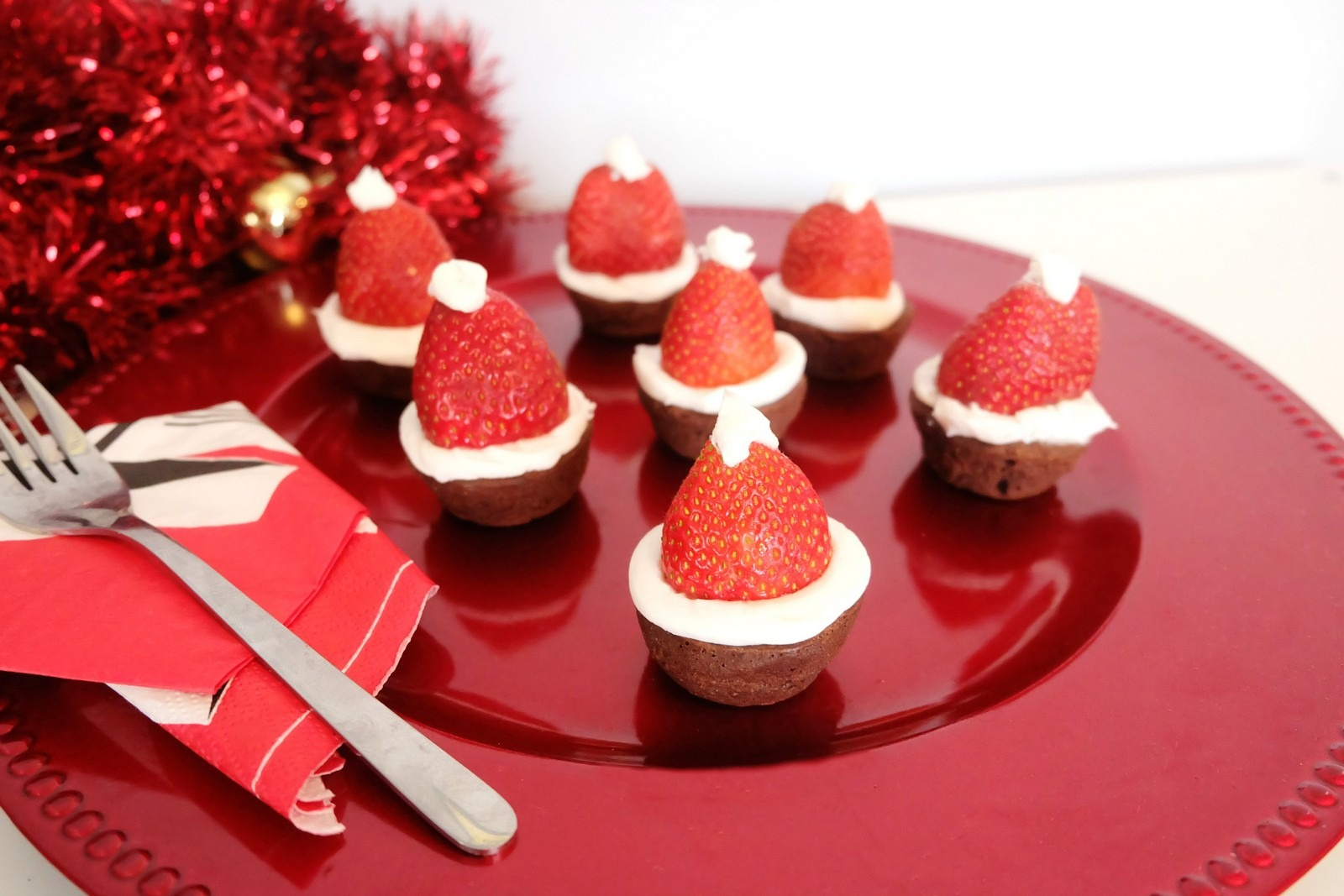 Cute Strawberry Brownie Santa Hats