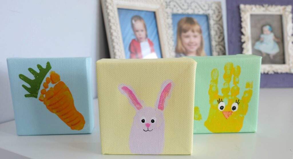 Cute Easter Handprint and Footprint Canvas Critters