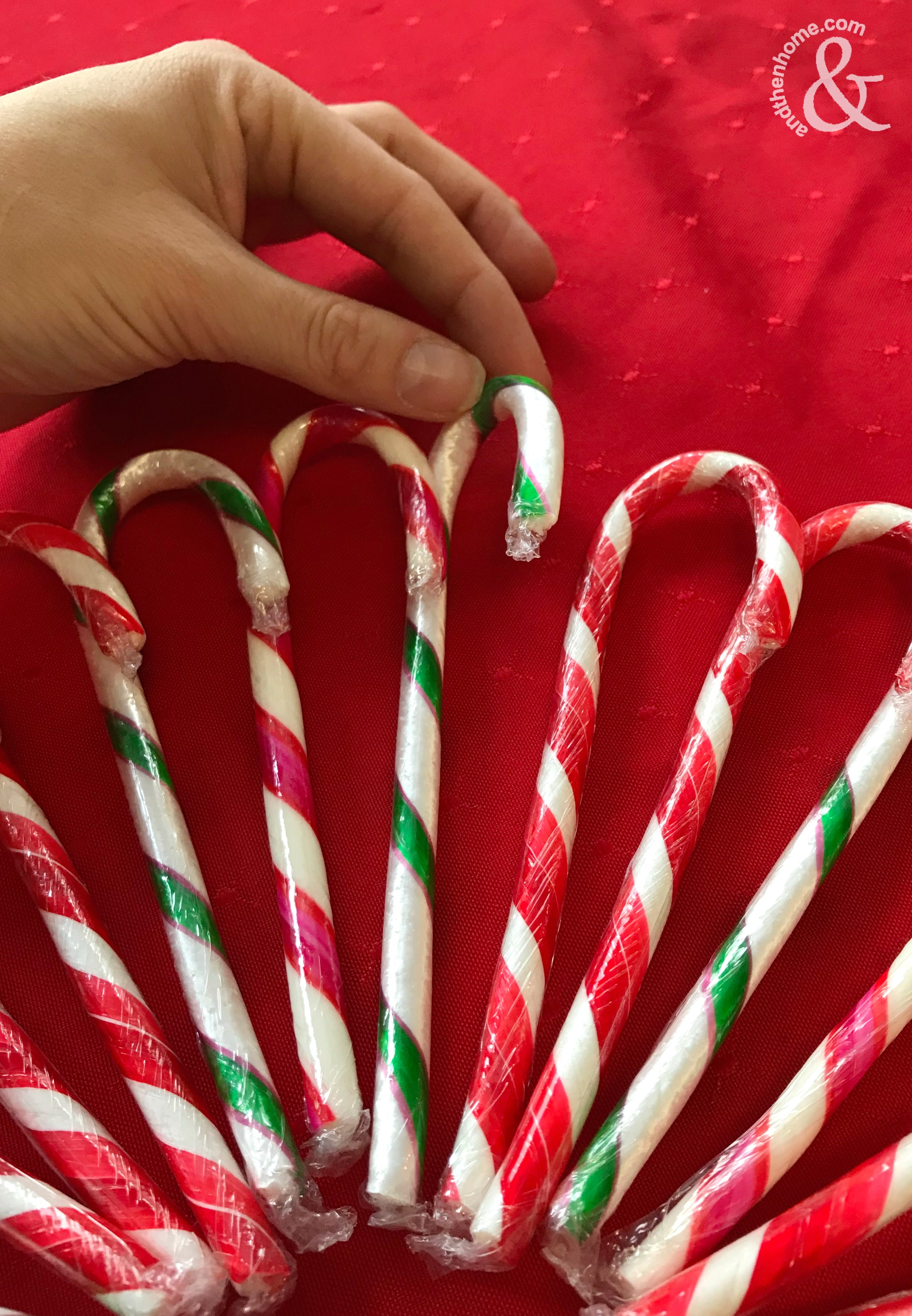Diy Christmas Candy Cane Wreath And Then Home