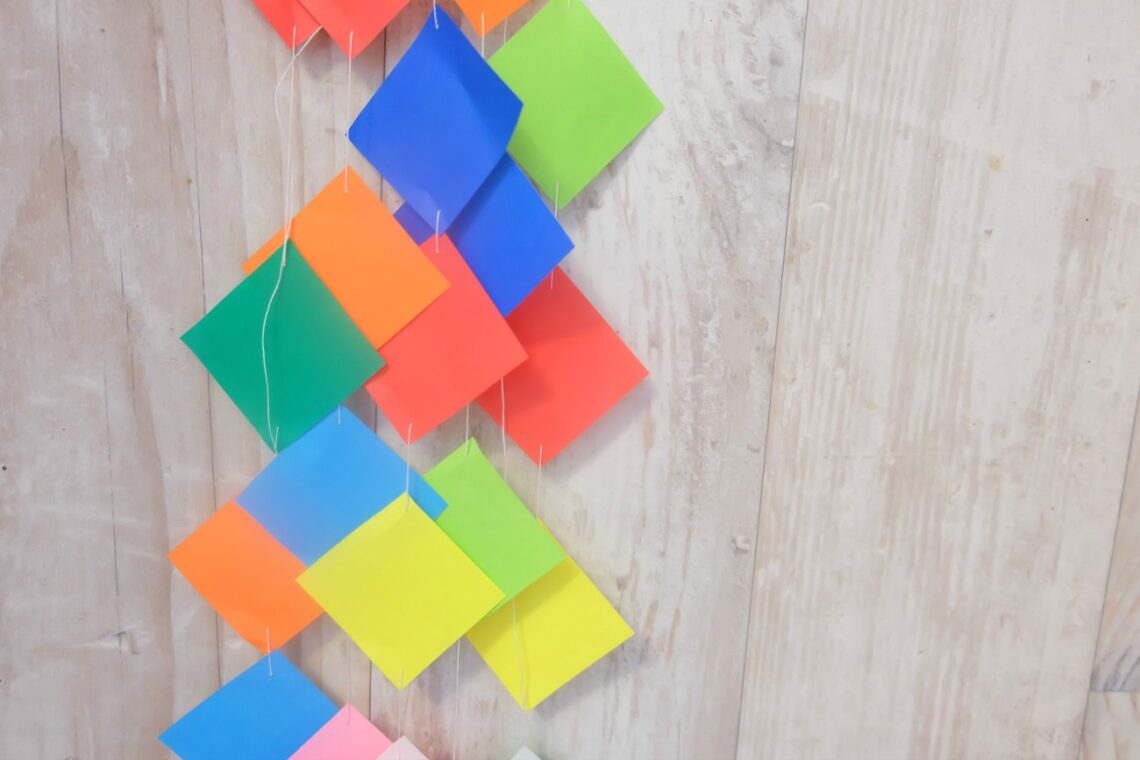 Colourful DIY Origami Garland Party Decor