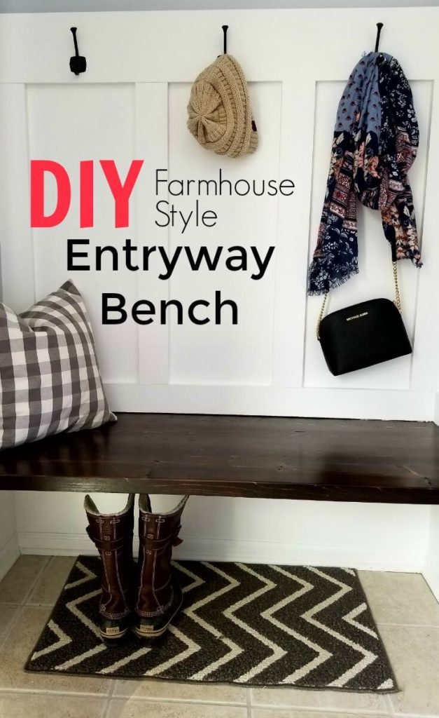 Save Money With this Budget Friendly Farmhouse Style Entryway Bench - Living Low Key.