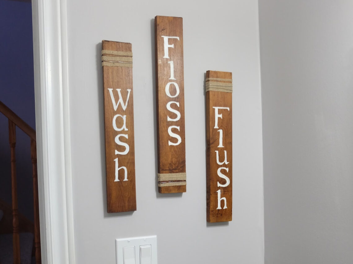 How to create a Fun and Cheap Rustic Bathroom Sign