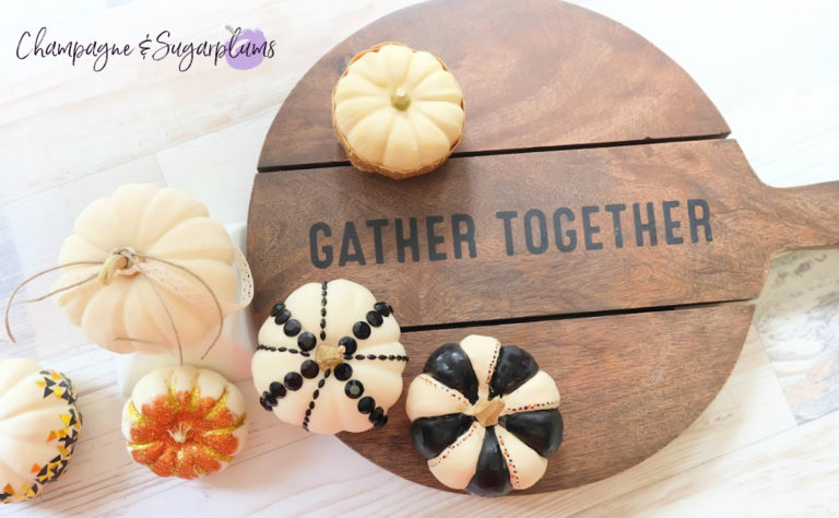 DIY Thanksgiving Centrepiece Idea - Painted Mini Pumpkins by Champagne and Sugarplums.