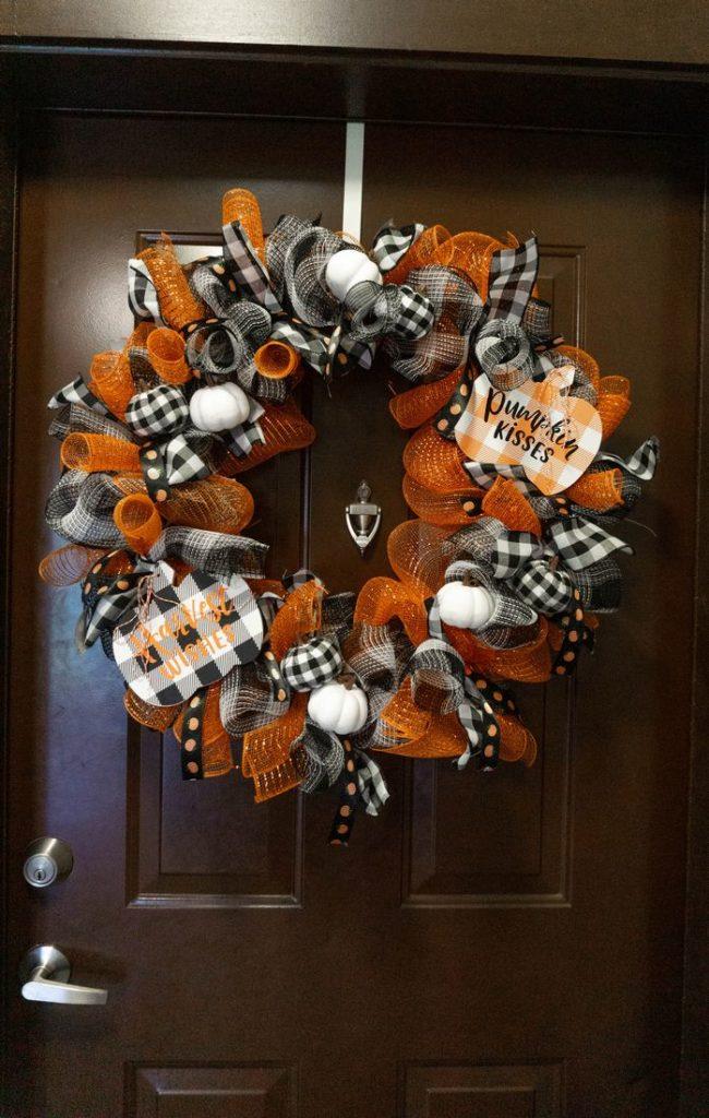 Fall Pumpkin Buffalo Plaid Wreath by Mooshu Jenne