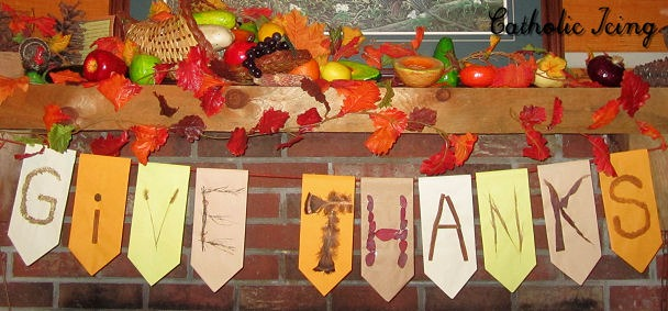 Give Thanks Banner - A DIY Bunting for Thanksgiving by Catholic Icing